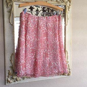 Kay Unger flowing pink/cream silk skirt. Size 12